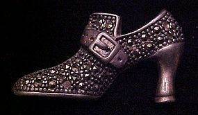 Vintage Sterling silver  marcasite shoe pin