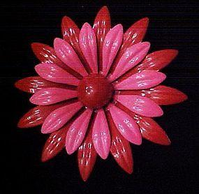 Large vintage red and pink enamel flower pin