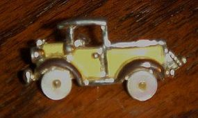 Vintage jalopy truck pin  mother of pearl tires CUTE