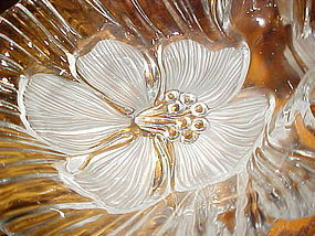 Mikasa frosted Hibiscus crystal divided dish
