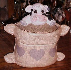 Cow in a feed sack  ceramic cookie jar