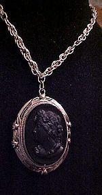Large Vintage black glass cameo photo locket necklace