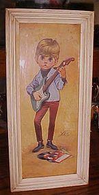 Lee Big Eyes print  boy and guitar Beatles records