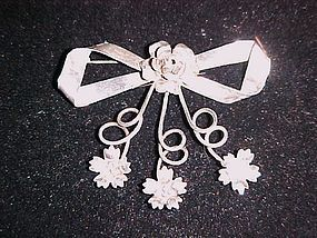 Vontage LeGro sterling bow and floral pin Gorgeous!!