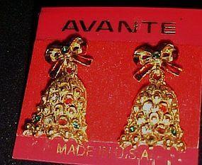 Vintage Avante Christmas bell earrings 22K gold plated