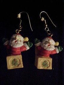 Jack in the box Santa Claus pierced earrings Christmas