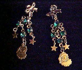 Santa Claus dangle earrings with green beads