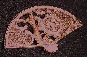 Gold tone Bullfighter matador fan pin