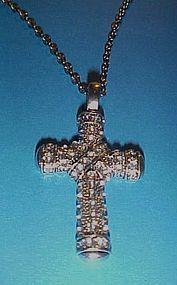 Rhinestone silvertone cross penadant and chain