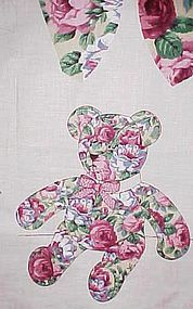 """Uncut fabric panel Rose covered  13"""" Teddy Bear"""