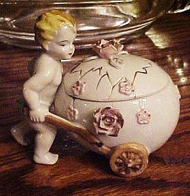 Vintage Royal Sealy child with egg n roses trinket box
