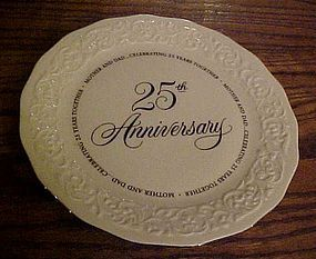 Hallmark 25th wedding Anniversary plate for Mom and Dad