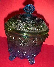 Grape and leaf covered sugar bowl blue  green Jeanette