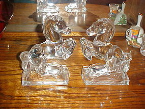 New Martinsville glass rearing horse bookends