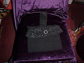 Vintage black handbag with rhinestones