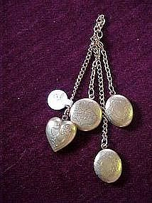 chatelaine of  5 engraved gold lockets