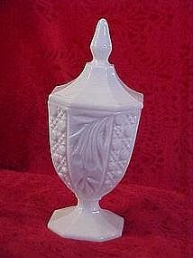 Tall milk glass compote with lid, fruit patterns