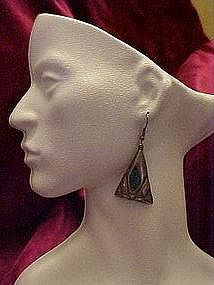 Mexican Silver earrings with turquoise, pierced