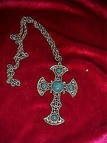 Large silver tone cross with faux turquoise pendant