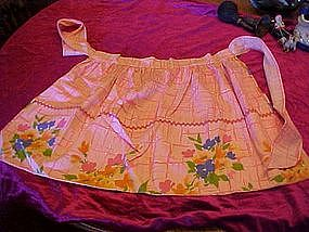 Vintage reversible cotton print apron, PRETTY