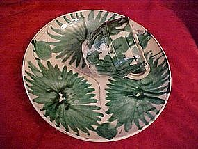 Vintage Mexican pottery, Plate and cup, green floral