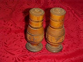 Mexico carved wood, salt and pepper shaker set