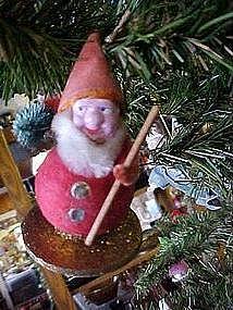 Spun cotton paper mache Santa Christmas ornament