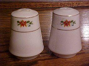 Pointsettia salt and pepper  china shakers