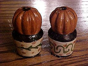 Vintage Mexico clay cactus in pots, salt and pepper set