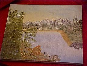 Oil painting of lake and mountain scene