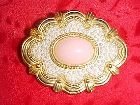 Gold tone pin with pink center and seed pearls