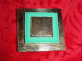 Nice retro pin, turquoise  enamel and gold
