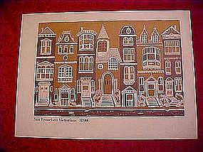Print of San Francisco Victorian houses, 1890