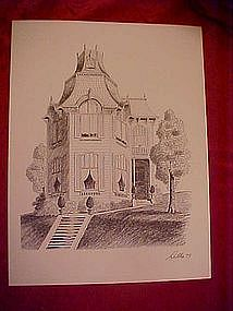 Victorian house print by Dathe 1973