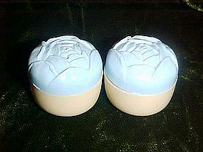 Vintage celluloid shakers with flower tops