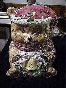 Ceramic Santa bear cookie jar,