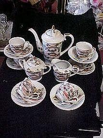 Oriental tea set, service for 6, hand painted, Mt Fuji