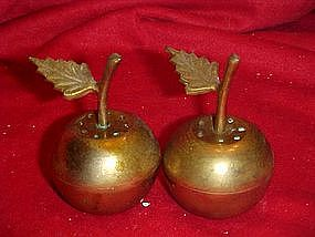 Solid brass cherries, salt and pepper shakers