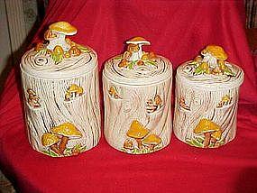 Vintage Treasure craft Stump & mushrooms cannisters