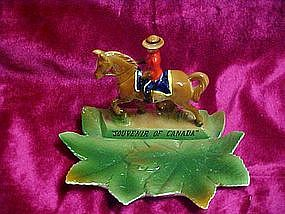 Napco Canadian Mountie on a horse ashtray, souvenir
