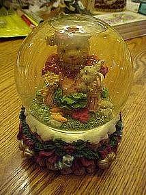 Snow dome, Babysitter bear, feeding baby bunny