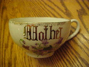 """Large oversized  china """"Mother"""" coffee cup with violets"""