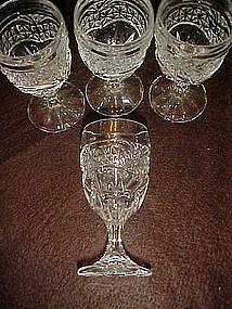 Set of 4 stemmed cordials, pres-cut pattern