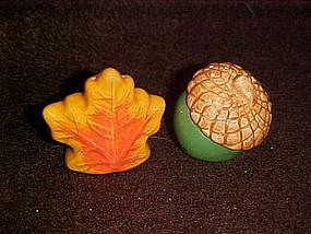 Acorn and oak leaf salt and pepper shakers, mini