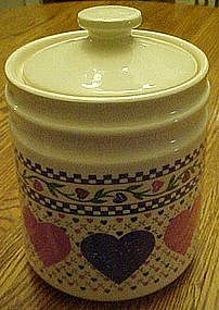 Hearts delight cookie jar, calico and hearts