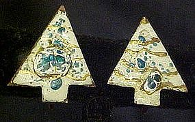 Vintage copper and enamel Christmas tree earrings