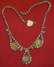 Vintage multi color rhinestone and cabochon necklace