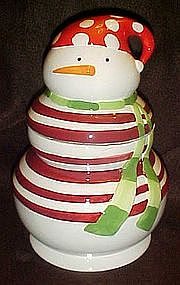 Red and white stripe snowman cookie jar