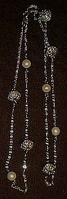 Avon silver beads and pearl  chain necklace