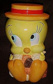 Tweety bird, straw hat cookie jar, Looney Tunes